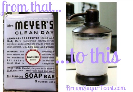 Mrs. Meyer's On the Cheap -- how to make liquid hand soap from a bar! plus the cheapest place I've found to buy Mrs. Meyer's bar soap! Great for homemade Christmas gifts or your own home!