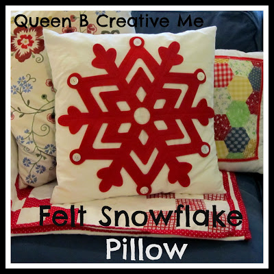 queen b felt snowflake pillow
