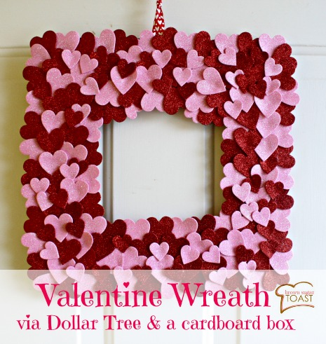 Love this valentine wreath - made with table scatter from the Dollar Tree! Super cute!!