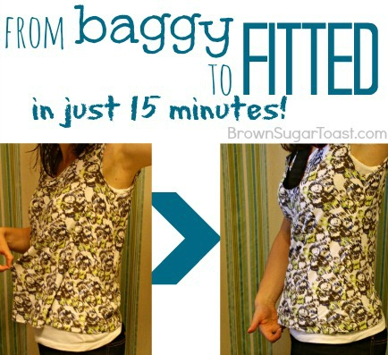 How to make a baggy shirt fitted in just 15 minutes! Even a beginner sewer can do this!!