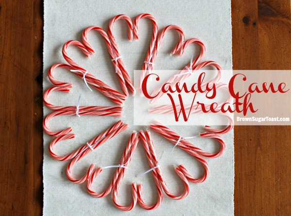 Candy Cane Wreath - just candy canes & glue!