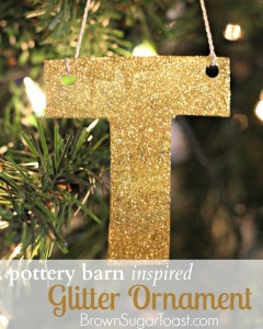 Pottery Barn Inspired Glitter Ornament - & it's made out of an old shoebox!