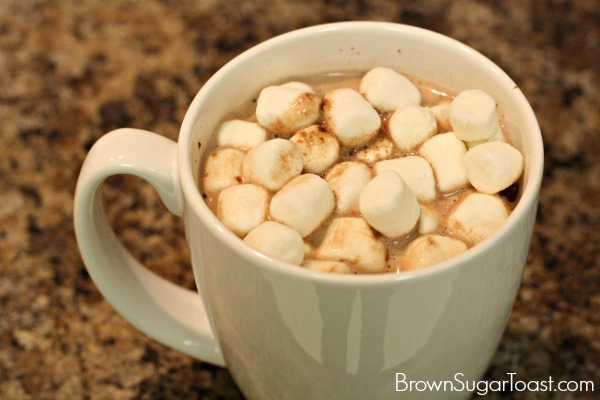 Toasted Marshmallow hot chocolate - top with marshmallows and broil! Such a special treat!