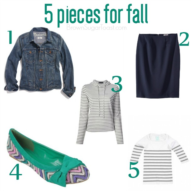5 fall pieces.