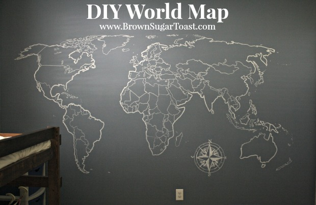 DIY World Map Wall Art – Brown Sugar Toast