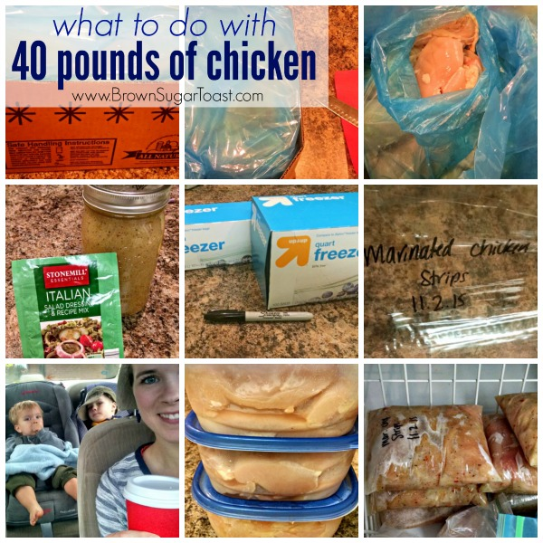 What can you do with FORTY pounds of chicken?? 3 steps to prepping large amounts of meat. Super practical + a great money saving ideas in this post, plus the cheapest place to buy organic chicken.