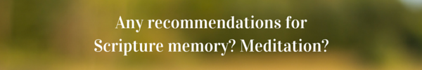 Any recommendations for Scripture memory- Meditation-